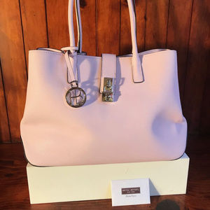 New Pink Henri Bendel Leather Tote Bag w Lock Firm